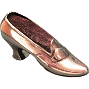 Vintage Gorham Sterling Shoe Pincushion With Original Purple Velvet Cushion