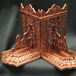 Vintage Pair Classic Cast Brass Bookends With Stylized Griffin