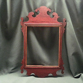 Antique Federal Mahogany Fretwork Mirror Frame With Original Backboard