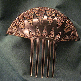 Vintage Celluloid Back Comb With Pierced Art Deco Design