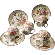 Antique Dresden Demitasse Cups And Saucers By Franzisca Hirsch With Hand Painted Floral And Gilt Decoration