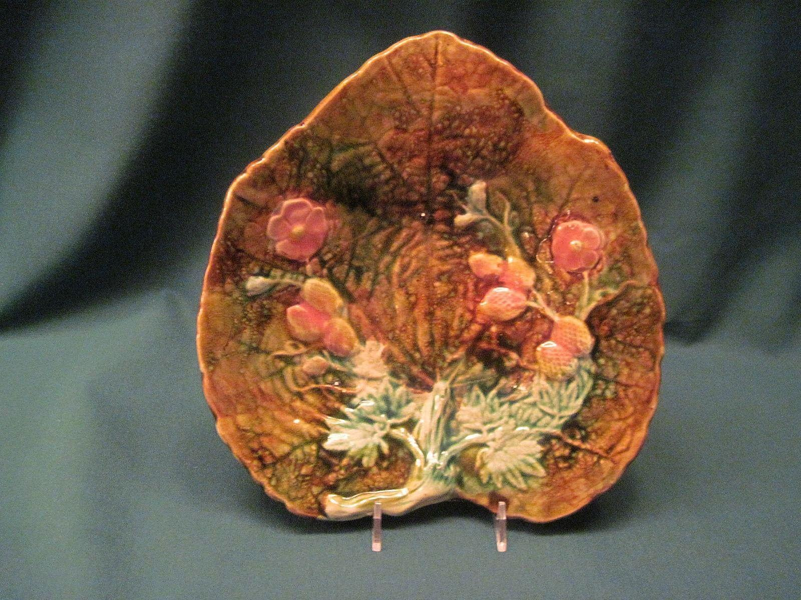 Antique Majolica Leaf Plate With Strawberries, Blossoms, And Vines