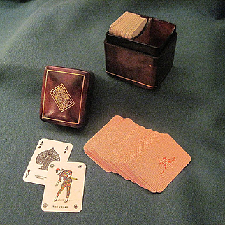 Vintage Miniature Masenghini Playing Cards In Gold Tooled Italian Leather Box