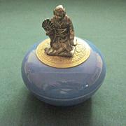 Vintage German Porcelain Dresser Jar with Figural Cover