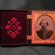 Ambrotype In Gilt Brass Frame and Gutta Percha Case