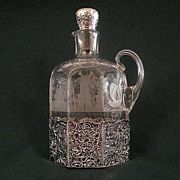Vintage Engraved Glass Decanter With Silver Mounts