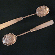 Vintage Silver Plate and Mother of Pearl Condiment Spoons With Bright Cut and Repousse Decoration