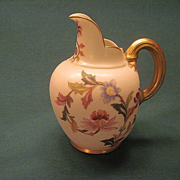 Antique Royal Worcester Porcelain Pitcher With Polychrome And Gold Floral Decoration
