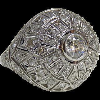 Art Deco Platinum Diamond Cocktail Ring