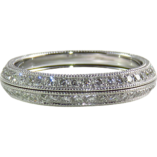 Estate 18 Karat White Gold Split Diamond Eternity Band