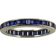 Vintage 14 Karat White Gold Synthetic Sapphire Eternity Band