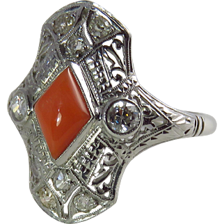 Art Deco 18K White Gold Coral and Diamond Filigree Ring