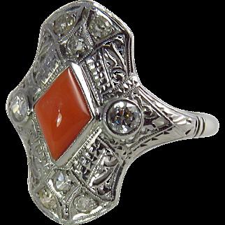 Art Deco 18K White Gold Coral and Diamond Filigree Ring