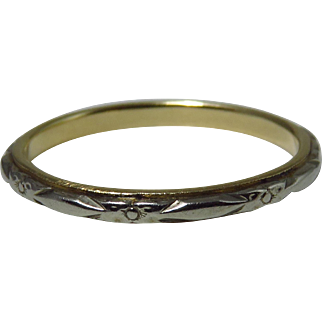 Vintage 14k White and Yellow Gold Engraved Wedding Band