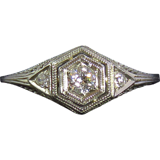 Art Deco 18K White Gold Diamond Filigree Engagement Ring