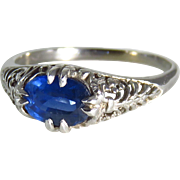 14 Karat White Gold Filigree Sapphire Ring - Red Tag Sale Item