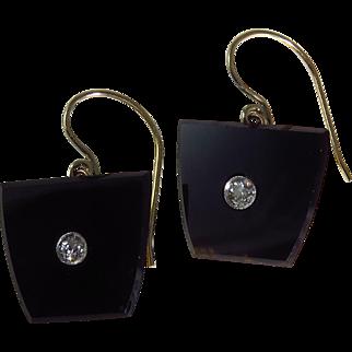 Edwardian 14k Yellow Gold Black Onyx and Diamond Earrings