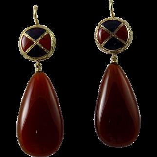 Victorian 15 Karat Yellow Gold Scottish Pebble Earrings