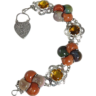 Victorian Sterling Silver Scottish Citrine and Agate Bracelet