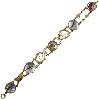 Edwardian Sloan & Co. 14K Yellow Gold Reverse Crystal Fly Fishing Bracelet