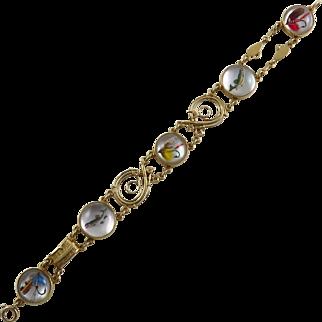 Edwardian Sloan & Co. 14K Yellow Gold Reverse Crystal Fly Fishing Bracelet