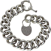 Victorian Sterling Silver Bracelet with Heart Shaped Padlock and Key