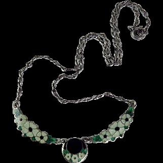 Art Deco Sterling Silver Guilloche Enamel Floral Motif Necklace