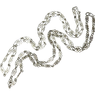 Matched Pair of Edwardian Sterling Silver Neck Chains