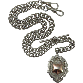 Art Deco Sterling Silver Watch Chain and Fob Necklace