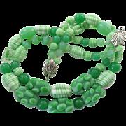 Vintage Apple Green Peking Glass Necklace