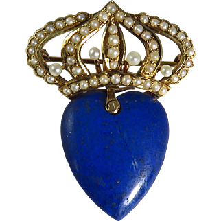 Edwardian 14 Karat Yellow Gold Seed Pearl and Lapis Brooch