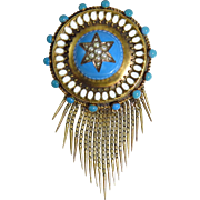 Victorian 15 Karat Yellow Gold Blue, White and Seed Pearl Fringe Brooch