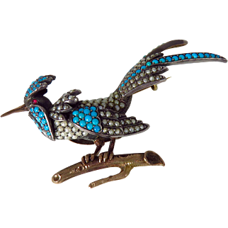 Victorian Rose Gold and Sterling Silver Turquoise and Seed Pearl Bird Brooch