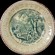 19th Century Child's Green Transfer Ware Alphabet Plate