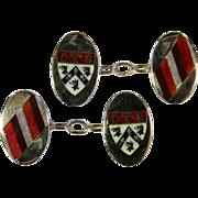 Vintage English Sterling Silver and Enamel Cufflinks