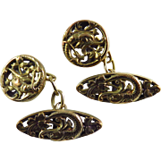 French Art Nouveau Gold Filled Dolphin Fish Cufflinks