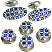 Art Deco Sterling Silver Blue and White Cufflink and Stud Set