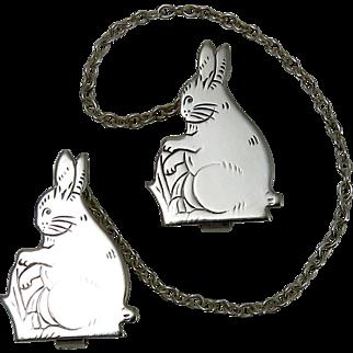 "Vintage Art Deco Sterling Silver ""Bunny Rabbit"" Bib Clips"