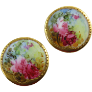 Victorian Hand Painted Floral Porcelain Cufflinks