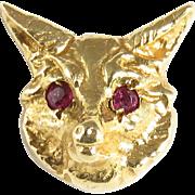 Vintage 14 Karat Yellow Gold Fox Head Tie Tack