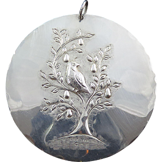"""1971 Towle Sterling Silver """"Partridge"""" Christmas Medallion"""