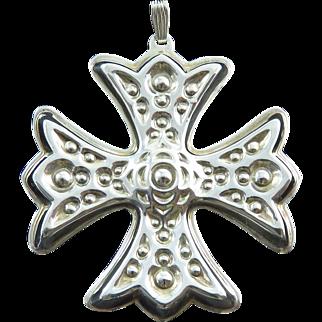 1975 Sterling Silver Reed & Barton Christmas Cross Medallion
