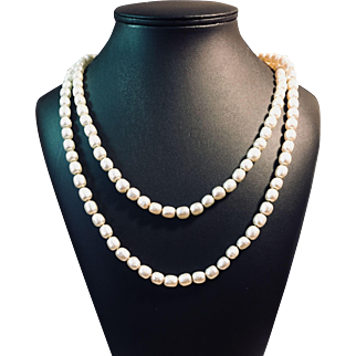 Miriam Haskell Vintage Baroque Pearl Necklace Matinee Length