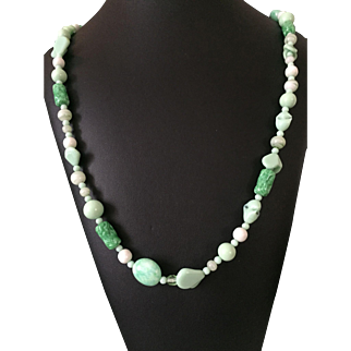 Miriam Haskell Green Glass Bead Necklace