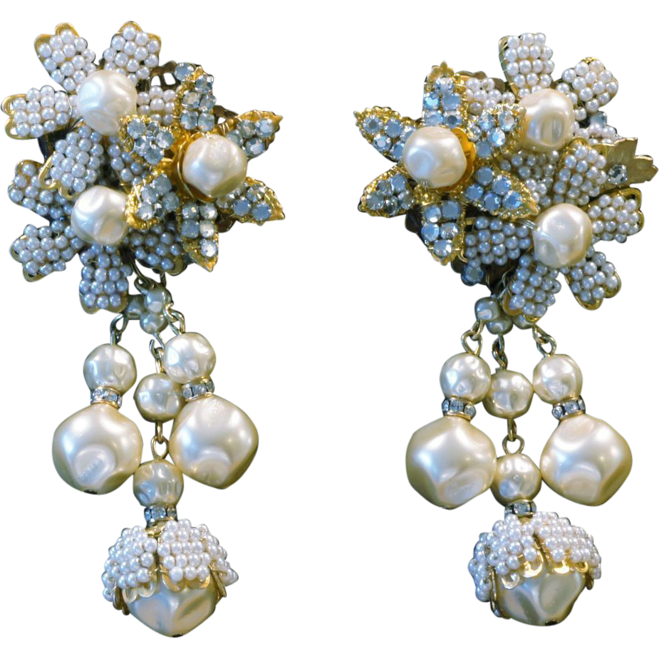 Signed Miriam Haskell Vintage Earrings From Queenofglitz