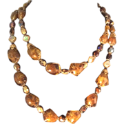 Hobe double strand brown/caramel colored necklace