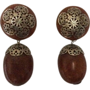 Bold & beautiful brown Bakelite & silver filigree earrings