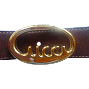"Gucci Brown Suede belt ""Gucci Script"" buckle from Italy"