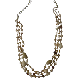 Vintage 3-Strand Glass Necklace