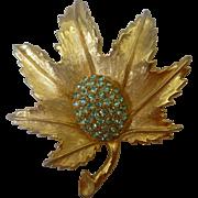 Vintage Weiss Aqua Marine Rhinestone Leaf Brooch